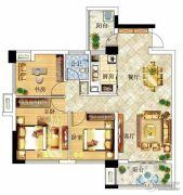 冠亚・国际星城3室2厅1卫86--88平方米户型图