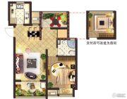 莱蒙水榭阳光1室2厅1卫75平方米户型图