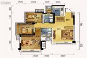 蓝润光华春天3室2厅2卫88平方米户型图