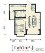 滨洲华府1室1厅1卫61平方米户型图