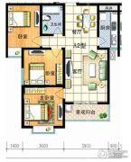 红安帝都3室2厅1卫99平方米户型图