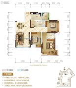 置地城3室2厅1卫85平方米户型图