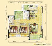 远达天际上城2室2厅2卫107平方米户型图
