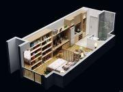 招商18721室1厅1卫48平方米户型图