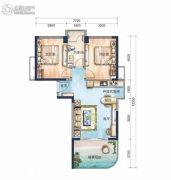 宝安虹海湾2室1厅1卫77平方米户型图