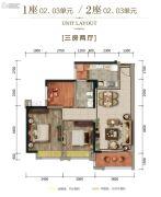 富丰君御3室2厅1卫89平方米户型图
