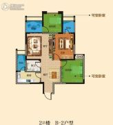 万景城3室2厅1卫77平方米户型图
