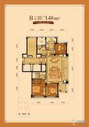 赛丽绿城慧园3室2厅2卫148平方米户型图