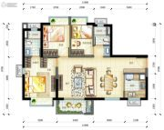 万科云城3室2厅2卫0平方米户型图