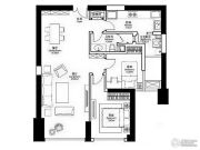 华润悦府2室2厅1卫110平方米户型图