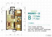 燕郊孔雀城2室2厅1卫75平方米户型图