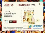 蔷薇国际3室2厅2卫145平方米户型图
