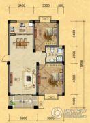 南越・西城华府2室2厅1卫88平方米户型图