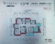 天健阳光花园3室2厅2卫114平方米户型图