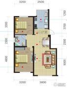 荟萃园2室2厅1卫84平方米户型图