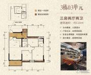 泓景苑3室2厅2卫110平方米户型图
