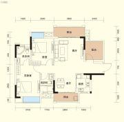 福晟钱隆樽品花园2室2厅2卫87平方米户型图