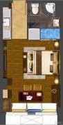 华府天地・紫泉宫1室1厅1卫45平方米户型图