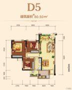 邦泰・铂仕公馆3室2厅1卫80平方米户型图