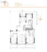 华发四季3室2厅2卫132平方米户型图