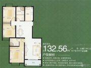 众大上海城3室2厅2卫132平方米户型图
