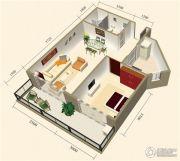中视金海湾1室2厅1卫67平方米户型图