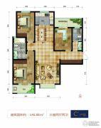 帝王国际3室2厅2卫146平方米户型图