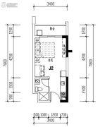 华发城建未来荟1室2厅1卫33平方米户型图