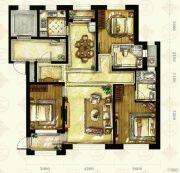 中国铁建国滨苑3室2厅2卫144平方米户型图