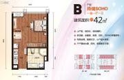 泰富世界城1室1厅1卫42平方米户型图
