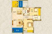 枫�Z美地园2室2厅1卫85平方米户型图