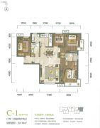 富力新城4室2厅2卫130平方米户型图