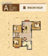 成国右岸3室2厅1卫117平方米户型图