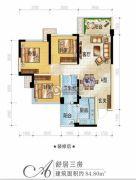正黄金域峰景3室2厅1卫84平方米户型图