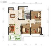 保利时代3室2厅1卫93平方米户型图