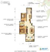 花屿海2室2厅1卫90平方米户型图