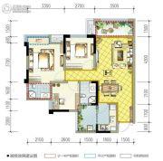 南湖凯旋广场3室2厅2卫85平方米户型图