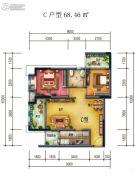 国兴北岸江山2室2厅1卫68平方米户型图