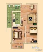 金河名都2室2厅1卫77平方米户型图