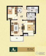 云海观澜2室2厅1卫69平方米户型图