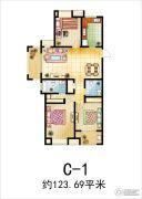 溪苑兰亭3室2厅2卫123平方米户型图