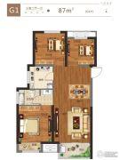 金科城3室2厅1卫87平方米户型图