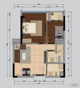 南沙城二期2室2厅1卫64平方米户型图