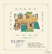 洞庭美域3室2厅2卫138平方米户型图