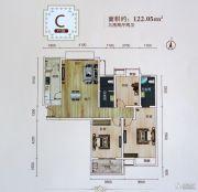 沙市天地3室2厅2卫122平方米户型图