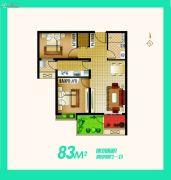 安联生态城2室2厅1卫83平方米户型图