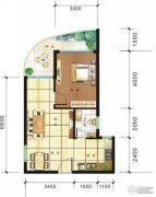 傲景观澜九龙湾1室2厅1卫0平方米户型图