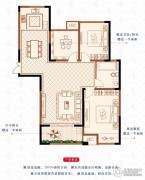 绿洲白马公馆3室2厅1卫117平方米户型图