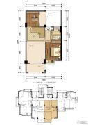 东晟泰和园2室1厅1卫0平方米户型图