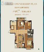 东湖湾3室2厅2卫120平方米户型图